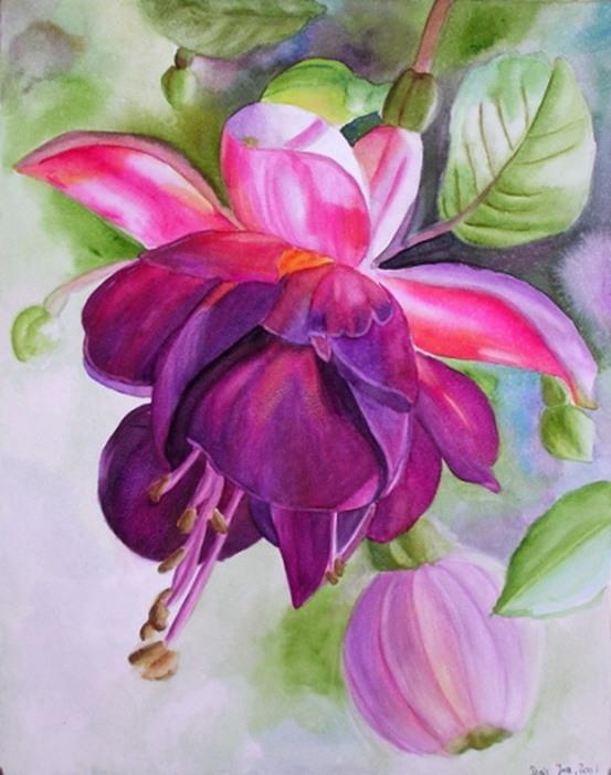 Рисунки красками цветок